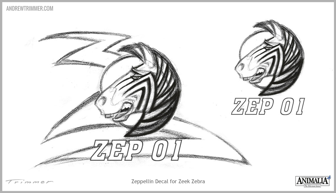 Initial Sketch idea of Zeppelin Decal on the Custom Artwork Template